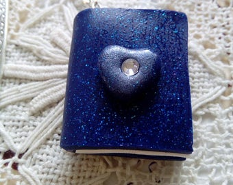 Blue glitter polymer clay miniature book, clay bookmark, handmade clay book, book lover gift, literary gift
