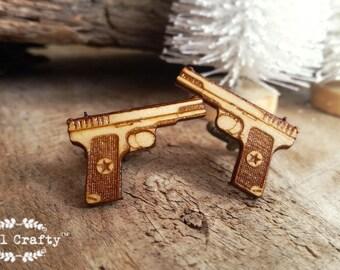 Hand Gun Wooden Cufflinks Army Police Handgun 45 acp Dad Grooms Best man Groomsman Rustic Wedding Birthday Gift Cuff links
