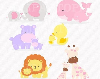 50% OFF SALE Mom and Baby Animal digital clipart / elephant, giraffe, lion, whale, duck, hippo Clip art for personal and commercial use