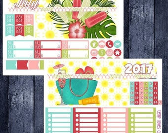 July Summer Monthly Stickers for HAPPY PLANNER