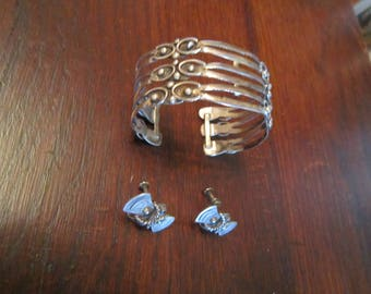Taxco, Mexico Sterling Cuff Bracelet and Earrings