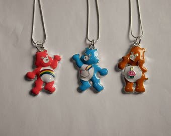 CARE BEAR Inspired Large Charm Necklaces 3 Colour Choices