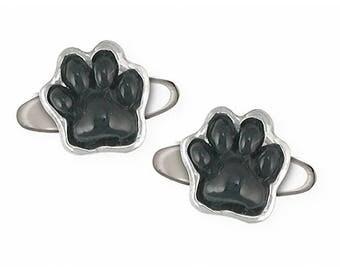 Dog Paw Cufflinks Jewelry Sterling Silver Handmade Dog Cufflinks IP2BK-CL