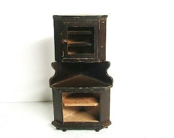 Dollhouse Furniture, Dollhouse Corner Cabinet, As-Is, Needs Repaired, Vintage Dollhouse Corner Cabinet