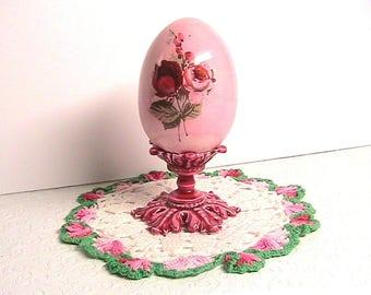 Egg, Porcelain Pink Egg on Pedestal