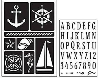 Art-C NAUTICAL ALPHA  Stamp & Adhesive Stencil set Tabs stamp tags stamp 28840 1.cc02