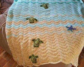 Sea Turtle Crochet Blanket, Turtle Crochet Blanket, Sea Turtle Blanket, Turtle Blanket, Ocean Blanket, Ocean Throw, Turtle Throw Blanket