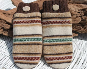 Wool sweater mittens lined with fleece with Lake Superior rock buttons intan, brown, cream, red, and green, Christmas, winter wedding