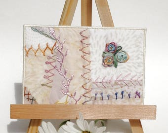 Pastel Hand Embroidered Postcard, One of a Kind Crazy Quilt Postcard, Batik Fabric Postcard, Fibre Art Postcard, Textile Art Postcard