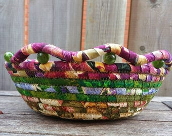 Coil Basket OOAK Handmade Beaded Fiber Art  Fabric Clothesline Bowl