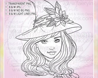 Poinsettia Christmas Witch UNCOLORED Digital Stamp Image Adult Coloring Page jpeg png jpg Craft Cardmaking Papercrafting DIY
