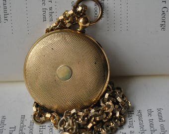 Antique Gold Filled Keepsake Locket - 1900s Gold Filled Pocket Watch Style Locket