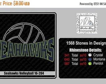 ON SALE NOW Seahawk volleyball rhinestone template for girls, women, use with cricut, Scan n cut, Silhouette,  Diy 16-204