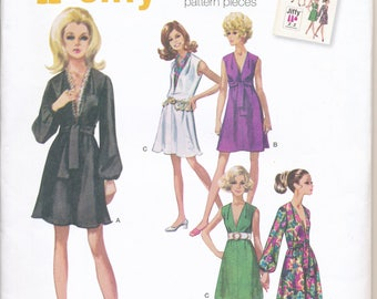 Cheapest Shipping. Simplicity 1059. Vintage 1960s Reproduction V-Neck Dress with Sash. Size:6-14,Jiffy Dress Pattern.