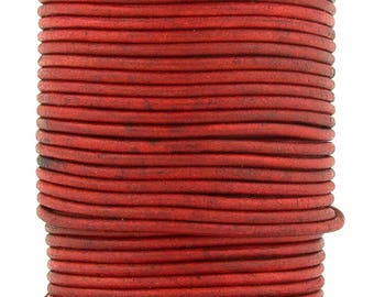 Xsotica® Red Natural Dye Round Leather Cord 2mm 25 meters (27.34 yards)