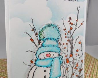 Christmas Card, Wanna Build a Snowman? -- Christmas Greeting Card -- Holiday Card -- Snowman Card