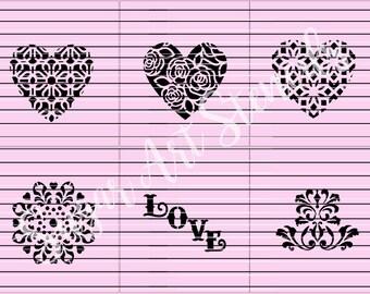 Heart love cookie stencils 6 pcs SL2044