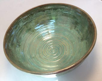 Pottery bowl - Green serving bowl, ceramic bowl, green ceramic bowl