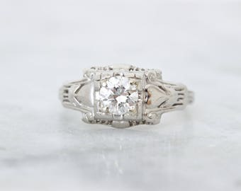 Art Deco Engagement Ring | Platinum Diamond Engagement Ring | Antique Diamond Ring | 0.39 CTW | 1920s Jewelry | Heart Accents | Size 4