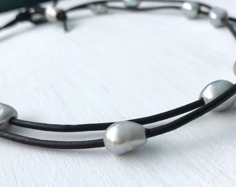 Leather pearl necklace, multistrand pearl necklace, pearl necklace, leather and pearls, gift for mom