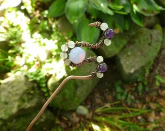 Handcrafted Swirly Amethyst Copper Hair Stick with wirewrapped  milky white and lavender opalescent beads, hair fork, hairpin, bunholder