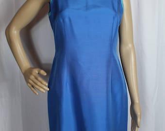 Vintage 90s talbots blue silk dress