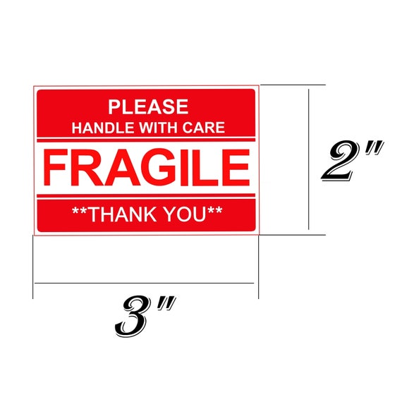 """1 of 2FREE Shipping STICKER FRAGILE 1""""x 3"""" STICKER FRAGILE HANDLE WITH CARE  SUPER FAST USPS SHIPPING"""
