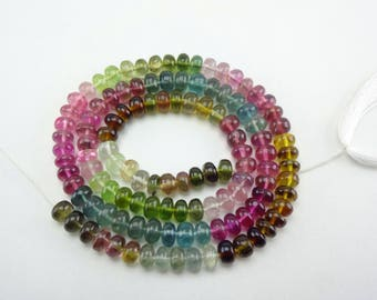 "Natural Tourmaline, Watermelon Tourmaline, Pink Tourmaline, Green tourmaline, Blue Tourmaline Smooth Plain Rondelle Beads 5mm 14"" Strand"