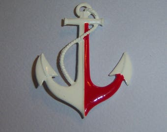 Large Anchor Brooch. Red And White Anchor Pin. Anchor Jewelry. Nautical Jewelry. Sailing Pin.