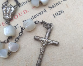French antique sterling silver reliquary religious cross crucifix hand cut mother of pearl beads ornate sterling cross sacred heart rosary