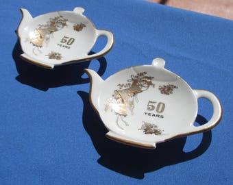 Vintage Viletta 50 Year Anniversary Tea Bags Holders Set Of Two