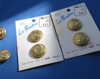 Lot Of Vintage Anchor Metal Buttons Carded & Loose