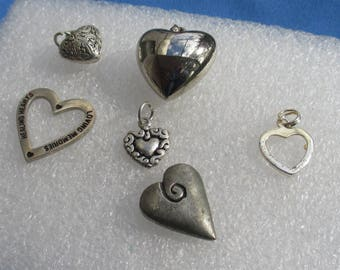 Lot Of Salvaged Heart Pendants Charms Token