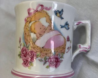 Vintage Kitschy Cute New Baby Nursery Mug