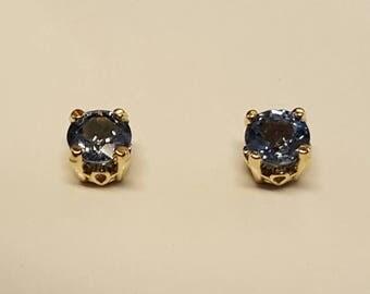 14k Blue Saphire 5mm 60 pt. Stud Earrings