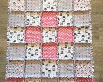 Flannel quilt, Flannel blanket, Flannel fabric, Baby blanket, Crib nursery, Baby girl bedding, Baby gift, Pink Polka dots, Zebra hearts,