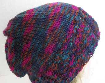 Hand Knit Jewel Tones Slouchy  Hat