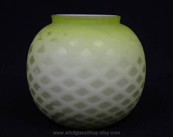 Antique green and white air trap satin glass posy vase