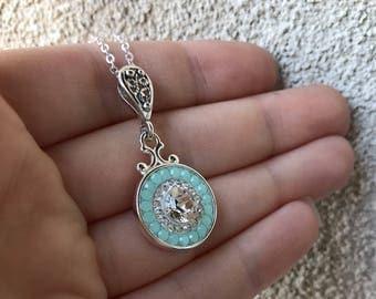 Mint Green and Crystal Clear Swarovski Crystal Bridal Necklace, Mint Alabaster Swarovski Crystal Pendant Necklace, Crystal Bridal Bride