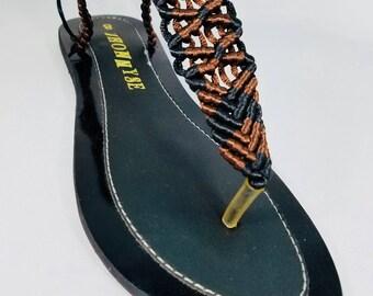 Brown/Black T-strap Sandals