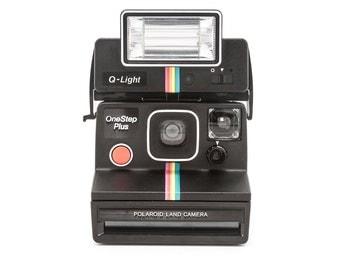 Polaroid OneStep Plus Land Camera with Polaroid QLight 2351 Flash - Tested - Guaranteed Working rainbow stripe