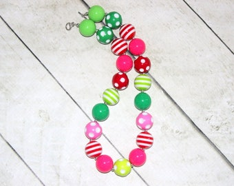Christmas chunky bubblegum necklace in red pink lime green hot pink beads for girls. Birthday whimsical necklace for toddler girl.