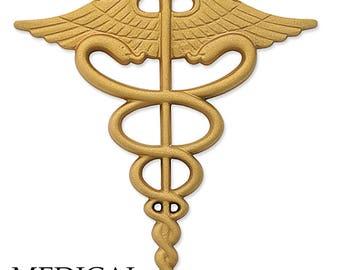 Cast Aluminum or Bronze Caduceus and other Medical Symbols Wall Sign