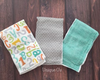 Gender neutral ABC & 1, 2, 3 burp cloth set, ready to ship!  Aqua, orange, yellow and gray.  New baby gift, baby shower gift, new mom gift
