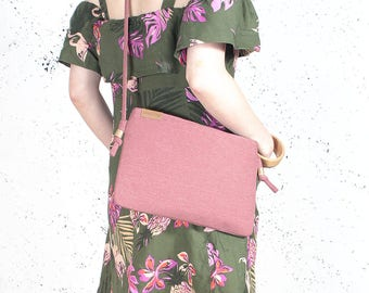 Nodo bag Clutch bag pink vegan bag polyester with cotton handbag shoulder strap zipped wedding purse bridesmaid evening bag gift