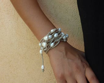 White freshwater pearls on linen- women jewel