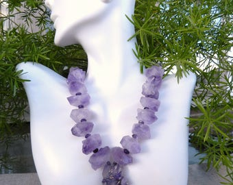 Chunky Amethyst Quartz Purple Pendant Necklace Nugget Stones Necklace Lilac Amethyst Jewelry by AlfaStudioArtistica