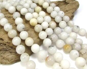 Snow Quartz Beads, Natural 12mm Milky White Snow Quartz Beads, 15 inch Strand, Beading Supplies, Item 803pm