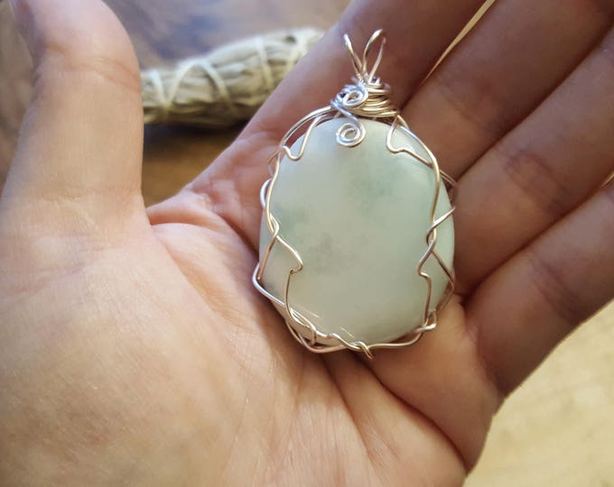 Blue Aragonite in light pink colored silver plated copper wire wrapped pendant, Reiki infused approx 2.1x1.3 inches (WW41)