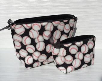 Travel Makeup Bag Set Baseball Theme Gifts, Choice of Size, Baseball Bags for Moms, Baseball Mom Gift Make Up Bag Sets, Baseball Gifts